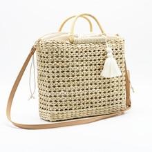 цена Bohemian straw women's bag Big Circle beach handbag summer retro rattan bag hand-woven travel bag ladies hollow shopping bag в интернет-магазинах