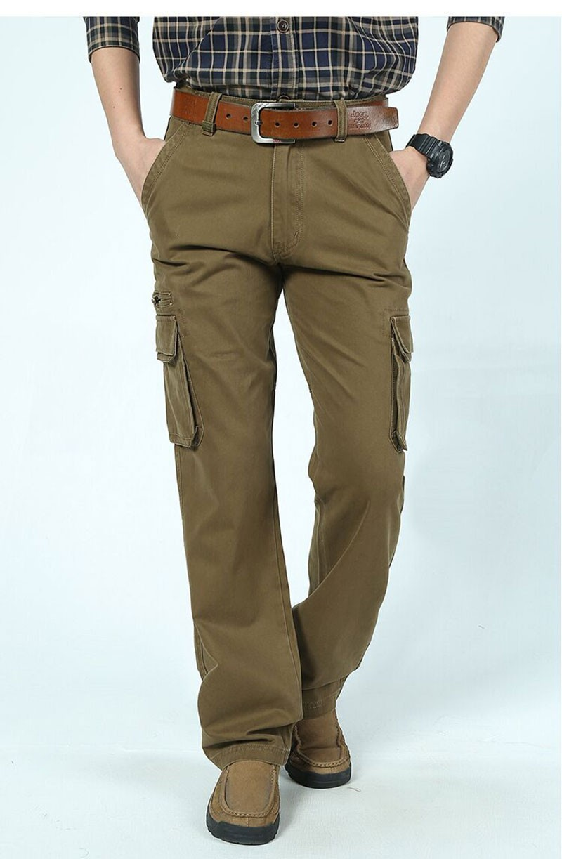 2015 New Autumn Winter Men\'s Cotton Cargo Long Pants High Quality Casual Straight Thick Pants Plus Size Trousers AFS JEEP 30~44 (4)