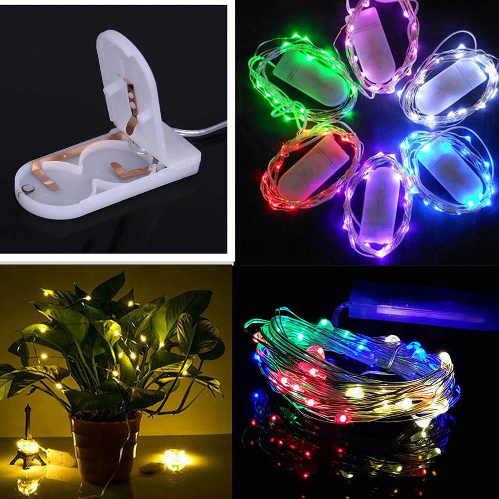 2M 1M LED Silver Wire String Lights for Xmas Garland Party Wedding Decoration Christmas Fairy Lights Battery Operated Hollween