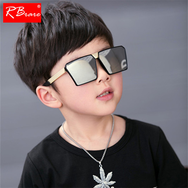 RBRARE Classic Square Sunglasses Girls Boys Colorful Mirror Children Glasses Concave Shape Personality Anti-UV Street Beat Kid