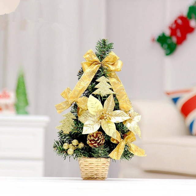 new 35cm golden bow decoration small christmas tree office and house desk decoration artificial christmas tree