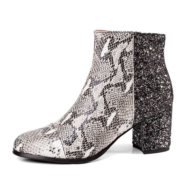 Otoño Cuero Zapatos De Botas Bling 2018 Femeninas Vaca Zip Mujer Snake Grueso Tacón Calzado Redonda Print Alto Mujeres Punta Wetkiss qfOvW