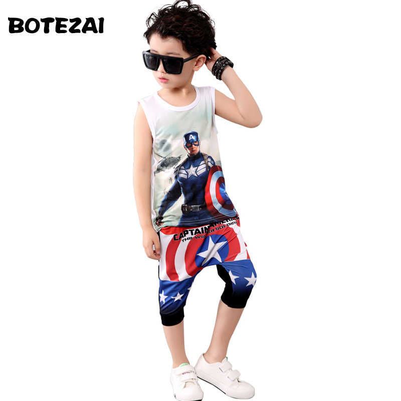 2017 Kids Summer Clothes Boys Cotton Captain America Clothing Set Boys 3d T-shirt+pants 2pc Set Baby Boy Clothes Sport Suit 2016 summer style kids clothes boys set t shirt shorts pants 2pc fashion children clothing cotton child suit for wedding costume page 9 page 2 page 6