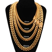 8143c143e37b HOT SELLING Hip Hop Gold Tone Iced Out Crystal Miami Cuban Chain Necklace  Or Bracelet Width