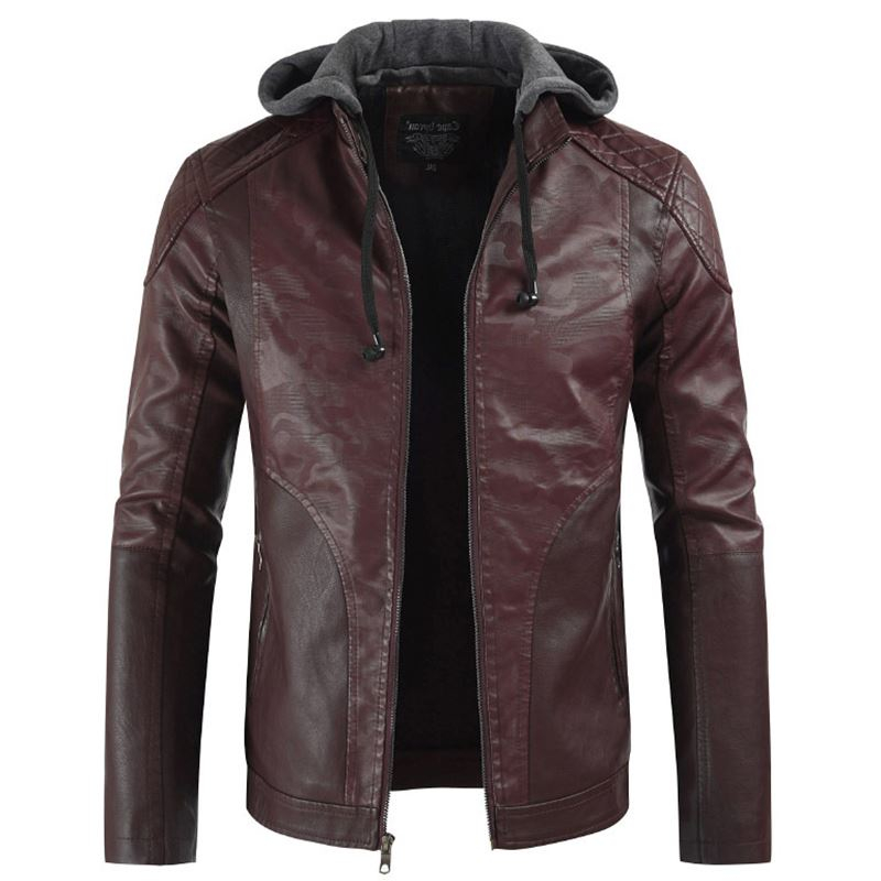 New Fashion Men Leather Warm Jackets Loose Outerwear Sweater Pockets Drop Ship Windproof Motorcycle Clothes Top Coats Plus Size