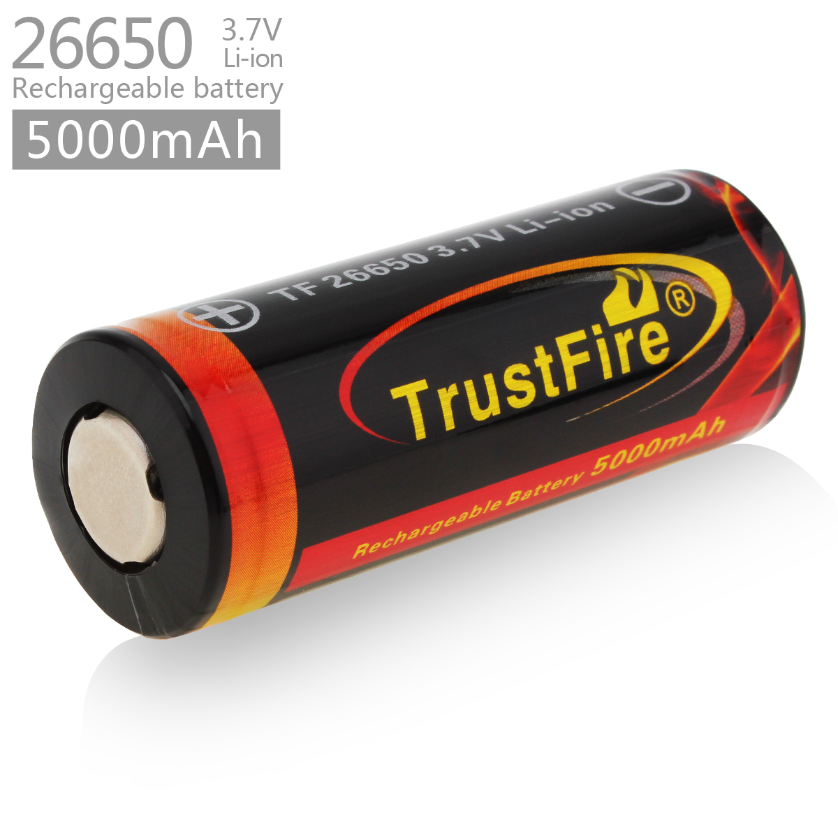 1pcs TrustFire 3.7V <font><b>26650</b></font> High Capacity 5000mAh Li-ion Rechargeable <font><b>Battery</b></font> with Protected PCB for LED Flashlights Headlamps image
