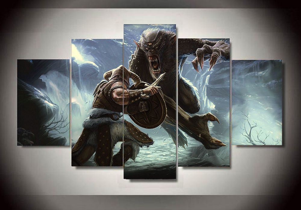 High quality 5 panels home decor skyrim wall art painting for living room unframed in painting Home decor survivor 6
