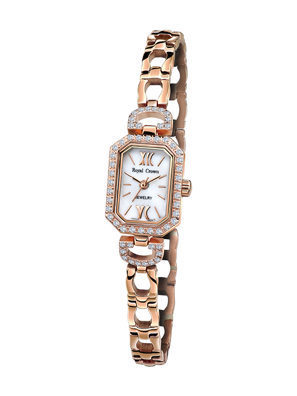 цена на Royal Crown Jewelry Watch 6538S Italy brand Diamond Japan MIYOTA Rose gold Silver bracelet 15*20.5mm Claw set Soviet drill