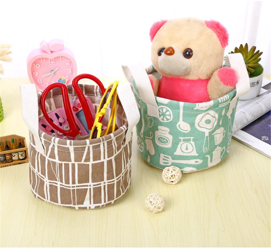 Cute Printing Cotton Linen Desktop Round Storage Organizer Sundries Box Cabinet Underwear Jewelry Cosmetic Stationery Basket (6)