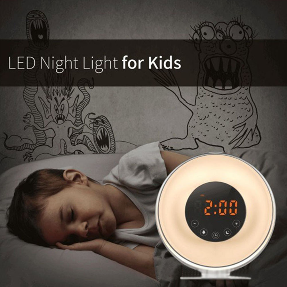 Wakeup Light Alarm Clock with Sunrise Sunset Simulation FM Radio 7 Colors Night Light Digital Clocks Hogard