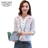 Cotton And Linen V Neck Half Sleeves Casual Loose Women Blouse 2017 New Summer Embroidered Office