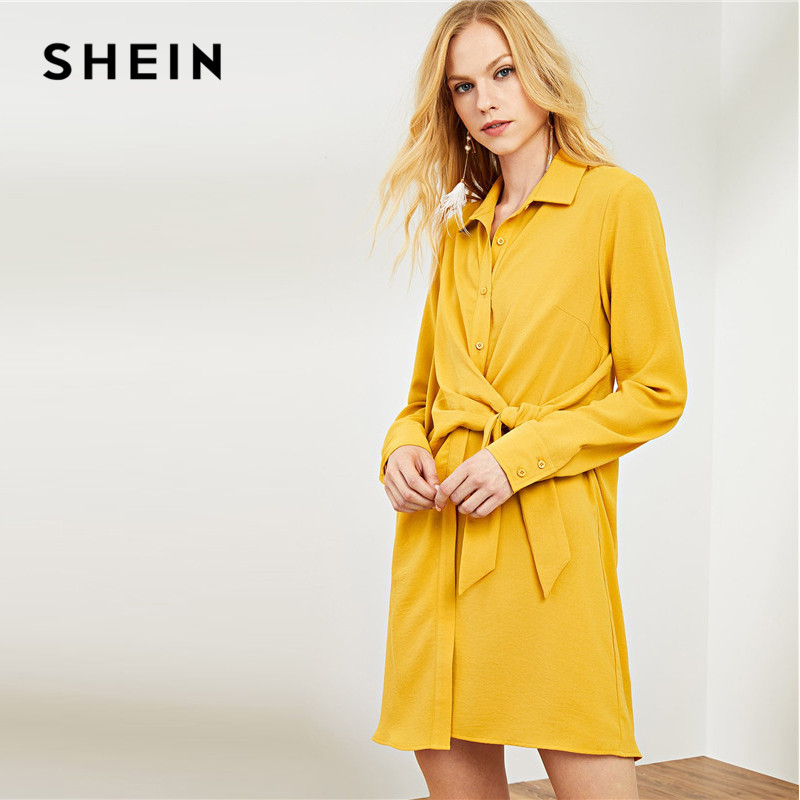 f5293b875ea SHEIN Ginger Workwear Office Lady Elegant Shirt Dress Knot Button 2018  Autumn Dresses Winter Long Sleeve Front Shirt Dress -in Dresses from Women s  Clothing ...