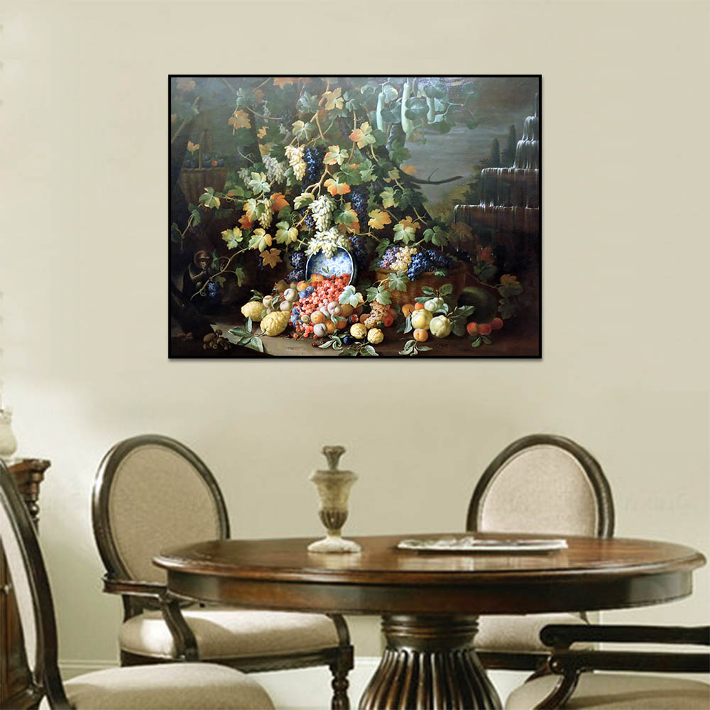 Canvas Prints Grape Rattan Various Fruits Wall Pictures For Living Room Art Decoration
