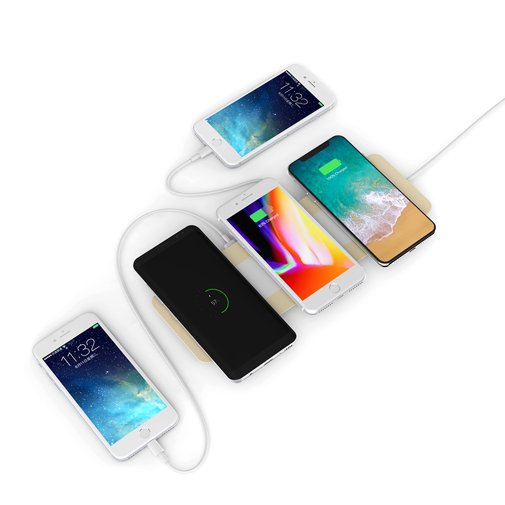 Acrylic and Wooden Shell+Triple Quick Wireless Phone Charger + Two USB Output Fast Charger Pad Phone Charger for Samsung /IphoneAcrylic and Wooden Shell+Triple Quick Wireless Phone Charger + Two USB Output Fast Charger Pad Phone Charger for Samsung /Iphone