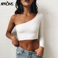 Aproms Cold Shoulder Camisole Tank Top Femal Knitted Crop Top Women Tops Streetwear Elastic Short Knitting