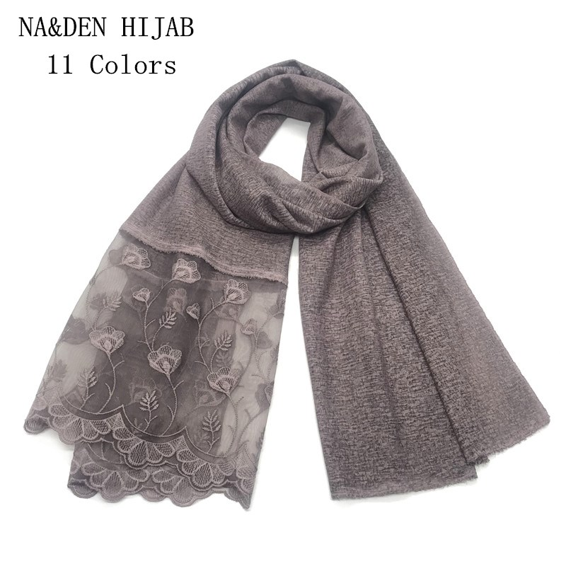 Fashion winter scarf Solid pattern shawl Flowers Lace brand Muslim hijab scarves headbands soft foulard new printed pashmina