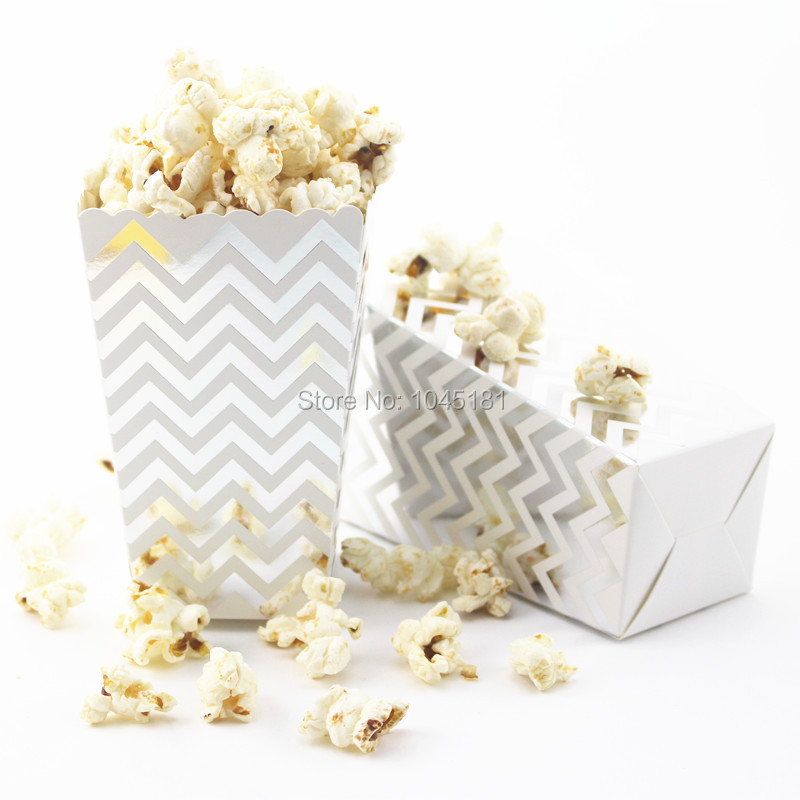 Aliexpress.com : Buy 120pcs Foil Gold/Silver Paper Popcorn Box for ...