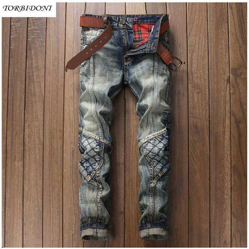 ФОТО 2017 Denim Jeans Men Vintage Patchwork Jeans Pants Casual Middle Waist Straight Long Pants Male Ripped Hole Jean Calca masculina