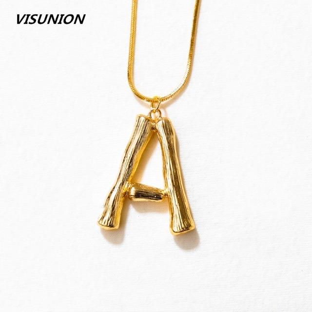 72d9f3174e31 A-Z 26 Letters Necklace Personalized Pendant Monogram Big Letters Script Name  Initial Alphabet Charm Necklace for Gift