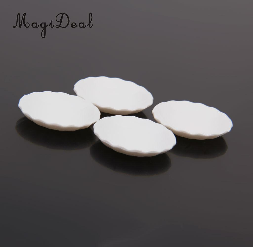 MagiDeal 4Pcs/Lot 1/12 Scale Dollhouse Miniature White Round Dishes Plate Tableware Kitchenware For Food Candy Kid Pretend Play