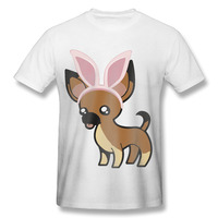 2017 Chihuahua with bunny ears Printing T shirt Men Personality Comic Customized Casual Workout