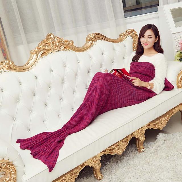 90*50 cm/170g misturado malha cauda de sereia adulto cobertor de lã do bebê sereia cobertor lance cama crianças sacos de dormir swaddle
