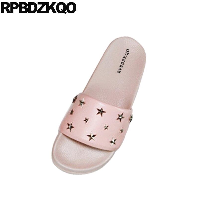 c35971d72 Embellished Shoes Women Sandals Flat Summer 2018 Stud Rivet Wide Fit Slip  On Ladies Slides Designer Soft Pink Open Toe Star