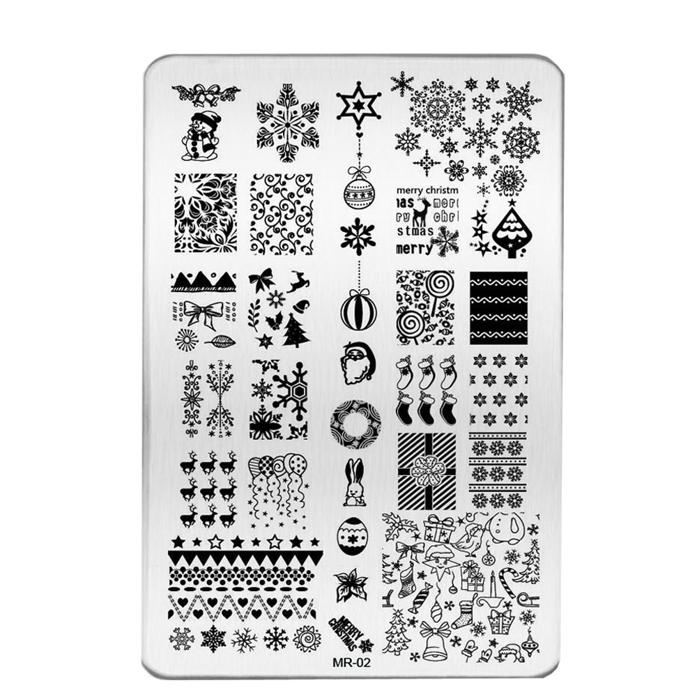 3pcs Hot Nail Art Templates Stainless Steel Christmas Image Sting Plates Polish St Manicure Stencil Tools Bemr01 03 In From