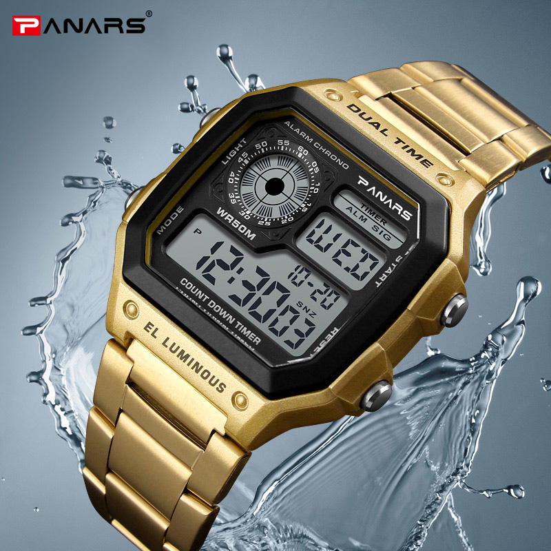 PANARS Sports Mens Business Square Retro Watches Waterproof Count Down Timer Digital Stopwatch Clock g Watch Shock GoldPANARS Sports Mens Business Square Retro Watches Waterproof Count Down Timer Digital Stopwatch Clock g Watch Shock Gold