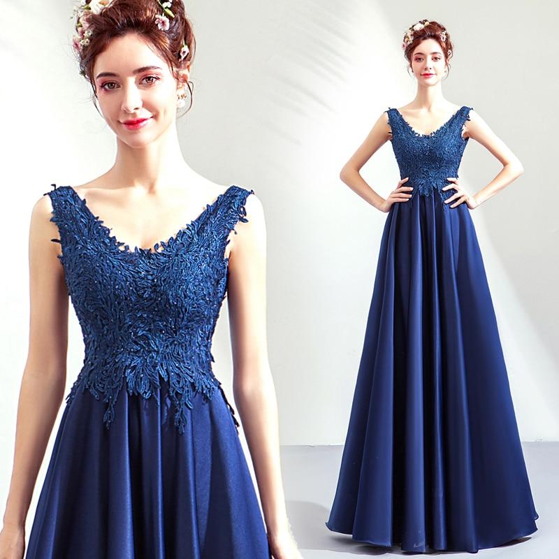 Splendide bleu Royal robes de bal v-cou venise dentelle Appliques perles 2019 nouvelle robe de soirée formelle longues robes de bal pour les femmes