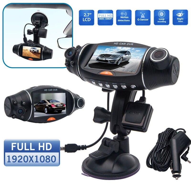 2.7 inch R310 Dual Lens HD Car DVR Camera GPS IR 140 Degree Night Vision Rear View Auto Car Camera G-sensor Car Camera Recorder