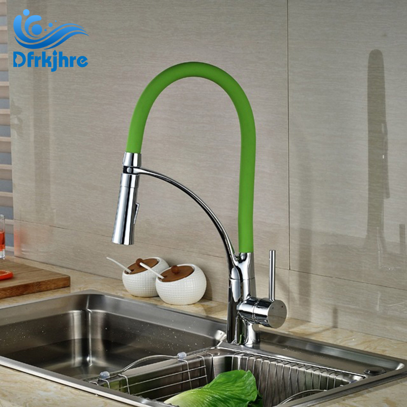 Chrome Finished Single Handle Kitchen Faucet Swivel Spout Mixer Tap With Green Body chrome finished floor mounted swivel spout bathroom tub faucet single handle mixer tap