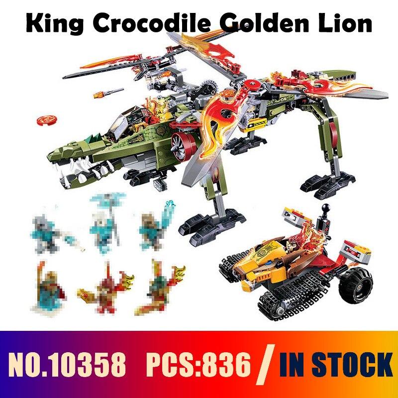 Совместимые с lego 70277 модели Строительство Игрушка 10358 836 шт. король крокодил Золотой Лев строительные блоки игрушки и хобби