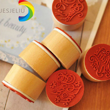 JESJELIU Retro DIY Vintage Floral Flower Pattern Round Wooden Rubber Stamp Scrapbook Love you Thank you Letter Stamp