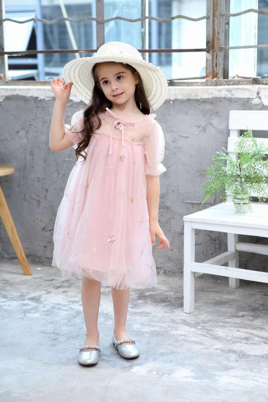 Летнее стильное платье для девочек; повседневные Детские платья для девочек; Сетчатое платье принцессы с вышивкой и блестками; одежда для детей; От 1 до 9 лет одежда