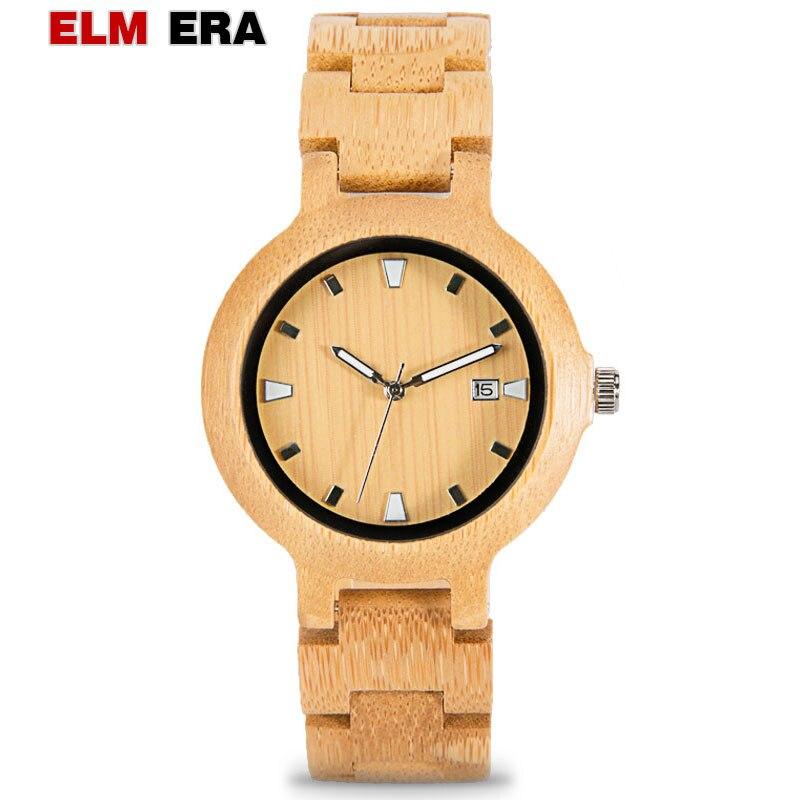 ELMERA  mens watch wood relogio masculino wooden watches men wrist luxury brand male minimalist