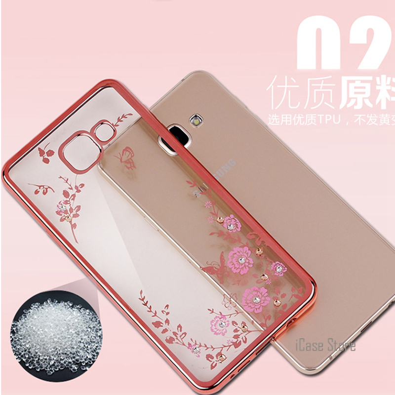 Soft TPU Flower case For Samsung Galaxy J1 2016 J3 J5 J7 A3 A5 2017 A7 S6 S7 Edge Grand Prime S8 Plus Plating Cover Phone Case @