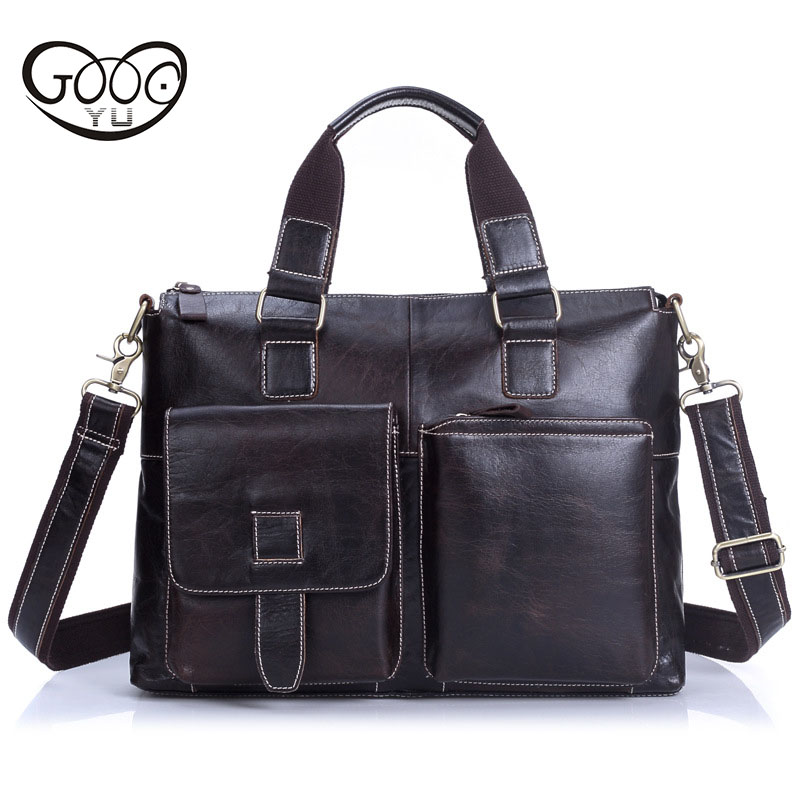 GOOG.YU Upscale Genuine Leather bag First layer of leather Men 's Handbag Business Briefcase Outside bag design Shoulder Bags