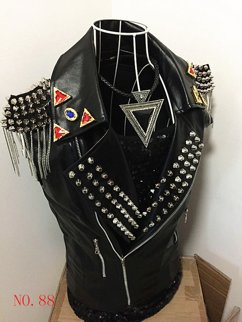 Male  Fashion Personality Rivet tassel Leather Vest Mens cool handsome suit vest for singer dancer in nightclub stars
