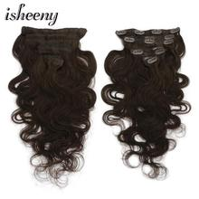 Isheeny 14 16 18 Darkest Brown Remy Clip-in Hair Extensions Body Wavy 7pcs/set Clip In Human