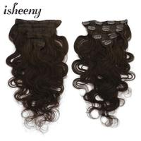 Isheeny 14 16 18 Darkest Brown Remy Clip in Hair Extensions Body Wavy 7pcs/set Clip In Human Hair