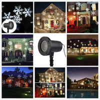 IP65 Waterproof Moving Snow Laser Projector Lamps Snowflake LED Stage Light For Christmas New Year Party