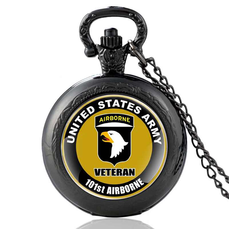 692ae124adb Os Recém-chegados Preto Clássico Estados Unidos Da Força Aérea dos EUA  101st Airborne Division Quartzo Relógio de Bolso Do Vintage Colar Relógios