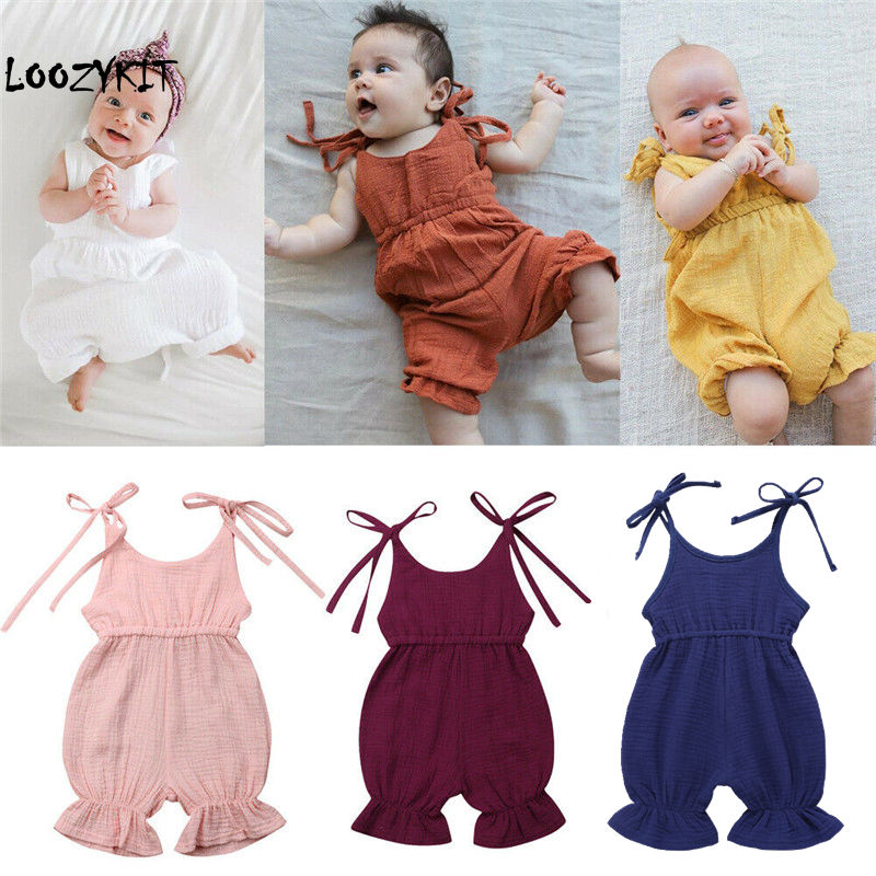 Loozykit 2019 New Newborn Toddler Baby Girls Sleeveless Solid Belt   Romper   Jumpsuit Outfit Sunsuit Summer Clothes