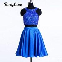 BeryLove из двух частей высокая шея короткая синяя платье возвращения домой 2019 атласный с бисером длиной выше колена коктейльное Дешевое плать