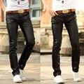 Corredores hombres pantalones de cuero hombres pantalones de cuero de imitación de cuero de la pu de los Nuevos hombres de modelos de explosión de la personalidad lucha jeans ajustados