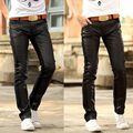 pu leather joggers men leather pants mens faux leather trousers New men's personality explosion models fight skinny jeans