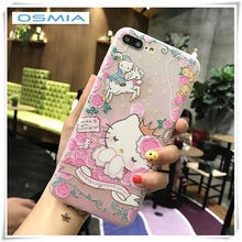 ФОТО osmia brand relief kt cat tpu case   for iphone 6 6splus for iphone 7 8 case ultra-thin scrub silicone phone cases