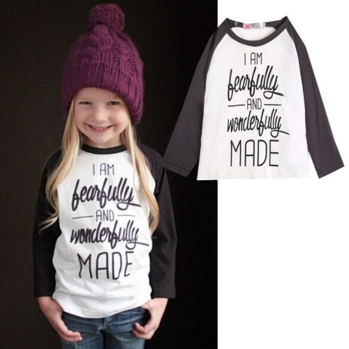2016 Baby Toddler Kids Girls Cotton Letters Printed Long Sleeve T-Shirt Blouse Clothes 1-6Y