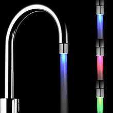 Temperature Sensor LED Light Water Faucet Tap Glow Shower Kitchen Bathroom RGB/Multi Color/Blue Free Shipping Wholesale free shipping 1 piece temperature sensor 3 color water tap faucet rgb glow shower colorful led light lamp with adapter
